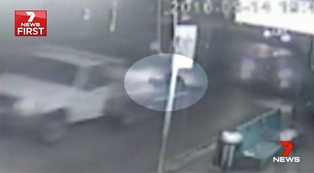 Rozali drives off while his victim lies on the ground. Source: 7 News
