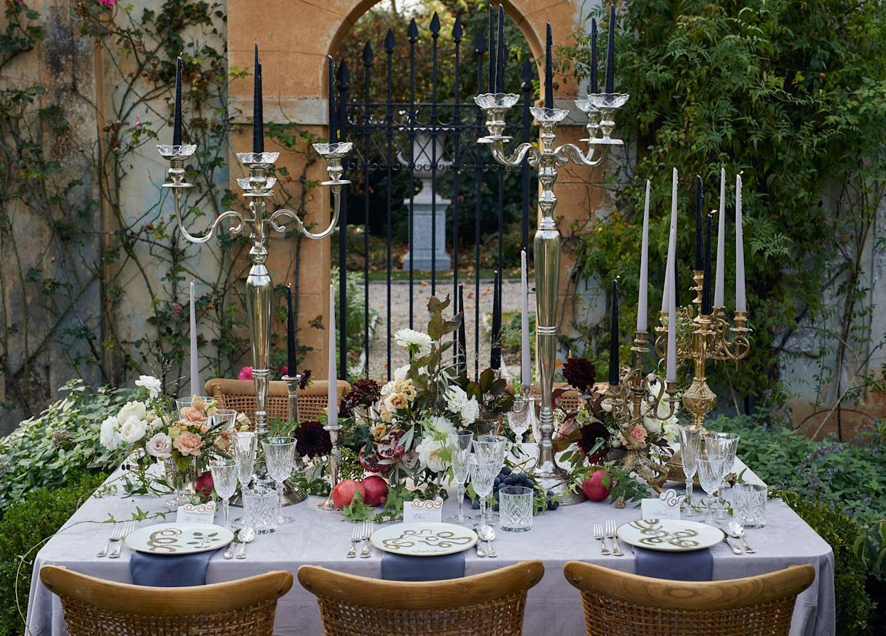 """<p>Trade mason jars and twine for fresh fruit—like moody-toned figs, pomegranates, and grapes. Pro tip: incorporate any fruits or flavors you plan to highlight in the tablescape into your locally-sourced menu for your wedding reception or after-party to give your guests a multi-sensory, seasonal experience.</p><p><em>Design by <a href=""""https://hessneyandco.com/"""" target=""""_blank"""">Hessney & Co.</a>, <a href=""""https://putnamflowers.com/"""" target=""""_blank"""">Putnam & Putnam</a>, and <a href=""""https://www.thelakecomoweddingplanner.com/"""" target=""""_blank"""">The Lake Como Wedding Planner</a></em></p>"""