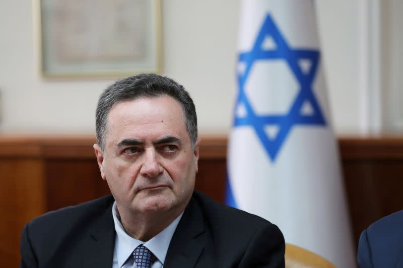 FILE PHOTO: Israel's acting foreign minister Israel Katz, who also serves as intelligence and transport minister,  attends the weekly cabinet meeting in Jerusalem