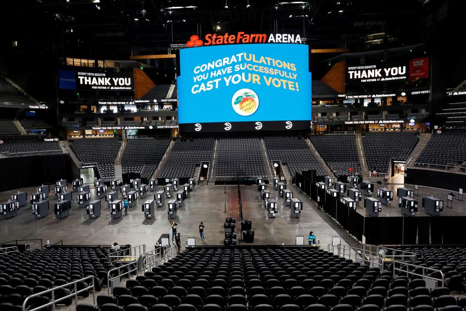 Voting stations on the floor at State Farm Arena.