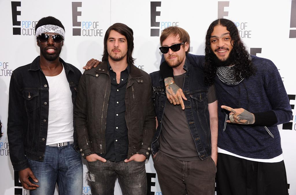 Disashi Lumumba-Kasongo, Eric Roberts, Matt McGinley, and Travie McCoy of Gym Class Heroes attend E!'s 2012 Upfront event at Gotham Hall on April 30, 2012 in New York City.