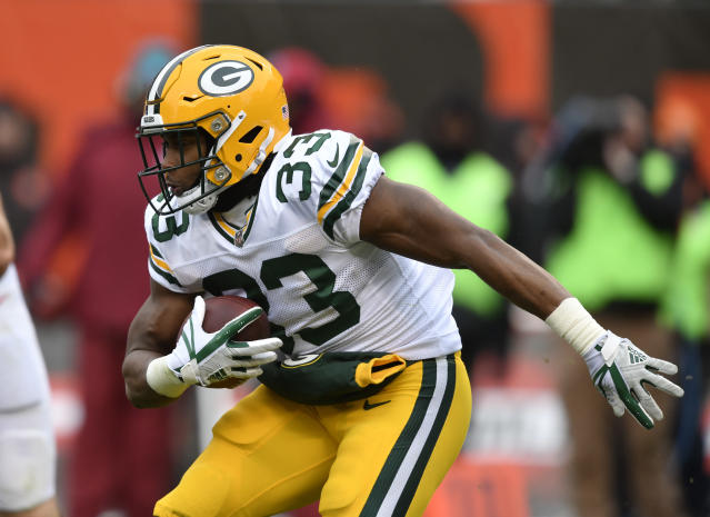 Green Bay Packers running back Aaron Jones was suspended two games by the NFL. (AP)