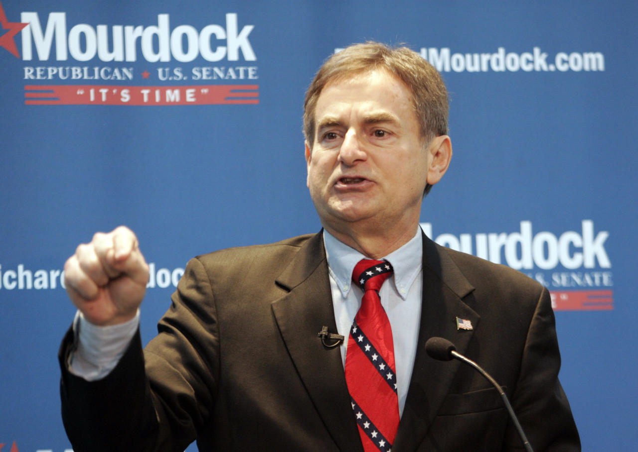 Indiana State Treasurer Richard Mourdock announces that he will be candidate for the U.S. Senate in the 2012 Republican primary during a campaign rally in Indianapolis, Tuesday, Feb. 22, 2011.