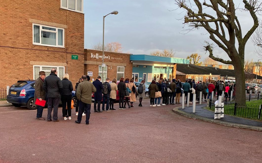 Voters wait patiently in line in Tooting, south London, at 9aVoters wait patiently in line in Tooting, south London, at 9am on Thursday morning. (Instagram/Elliot Marsh)m on Thursday morning.