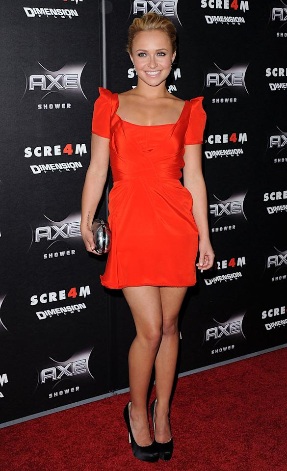 "Former ""Heroes"" hottie <a href=""http://movies.yahoo.com/movie/contributor/1800019797"">Hayden Panettiere</a> -- who plays Kirby Reed in the new flick -- was all smiles upon arriving in a red mini and black satin pumps."