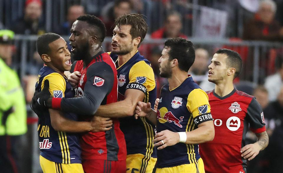Jozy Altidore was given a yellow card for a ridiculous dive, then sent off at halftime for violent conduct in the tunnel. (Getty)