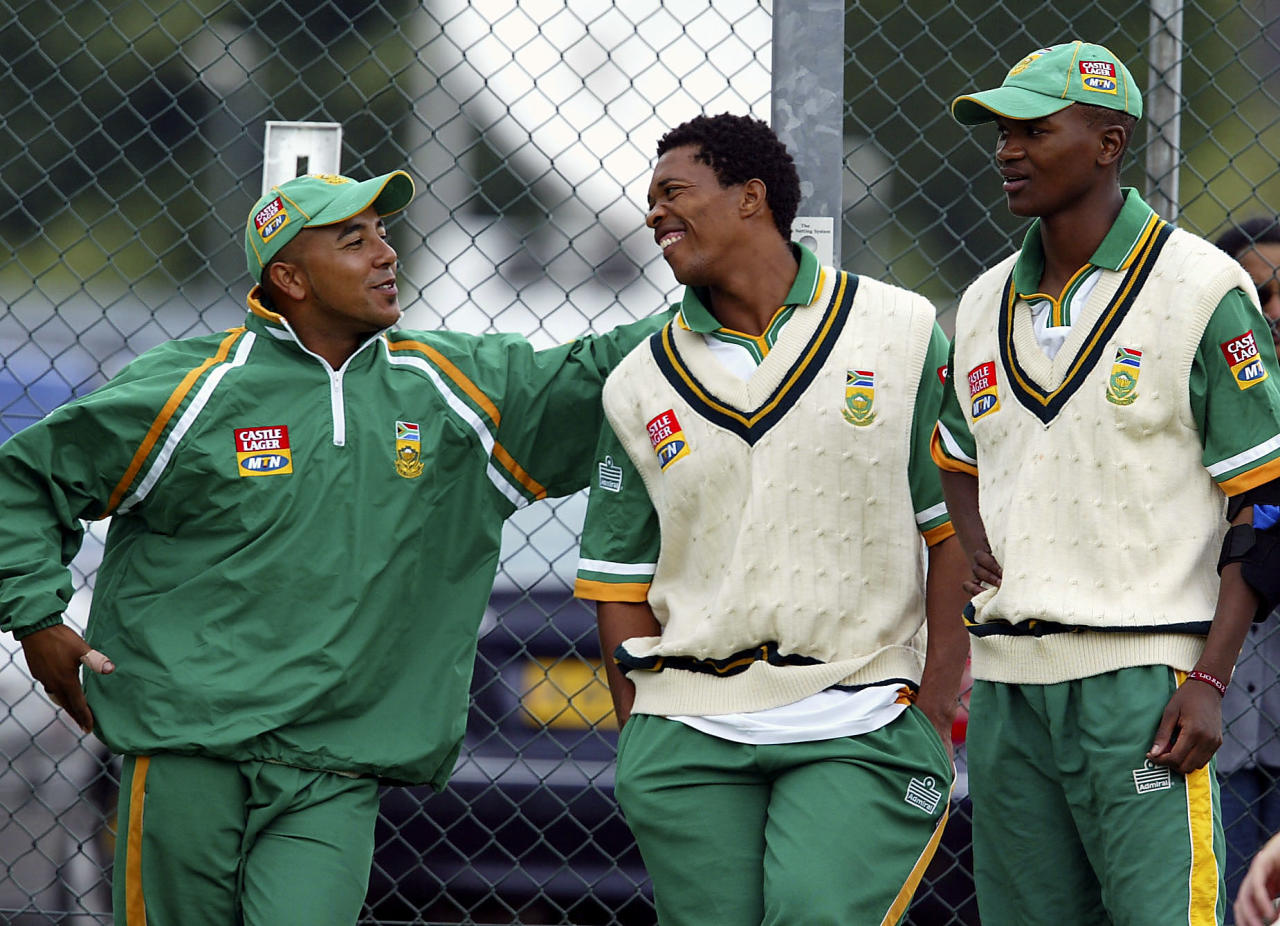 BIRMINGHAM, ENGLAND - JULY 23:  (L-R) Paul Adams, Makhaya Ntini and Monde Zondeki take a break during the South Africa nets at Edgbaston on July 23, 2003 in Birmingham, England. South Africa play a test match against England, which commences July 24.  (Photo by Stu Forster/Getty Images).