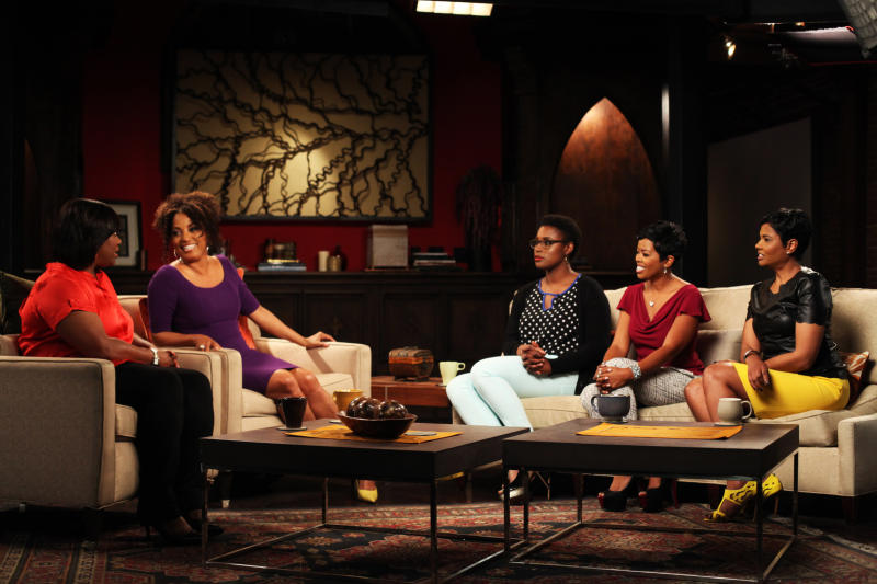 """This undated publicity photo released by ASPIRE shows """"Exhale"""" co-hosts Erin Jackson, Rene Syler, Issa Rae, Malinda Williams and Angela Burt-Murray discuss career and finance, entertainment, and breaking free from hurts in August. 2. """"Exhale"""" is taking a different approach to the TV talk show with an all African-American panel of female hosts. (AP Photo/ASPIRE, Leroy Hamilton)"""