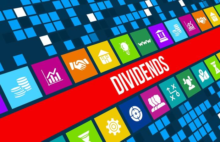 Banking and investing icons and the word dividends on a colorful electronic board