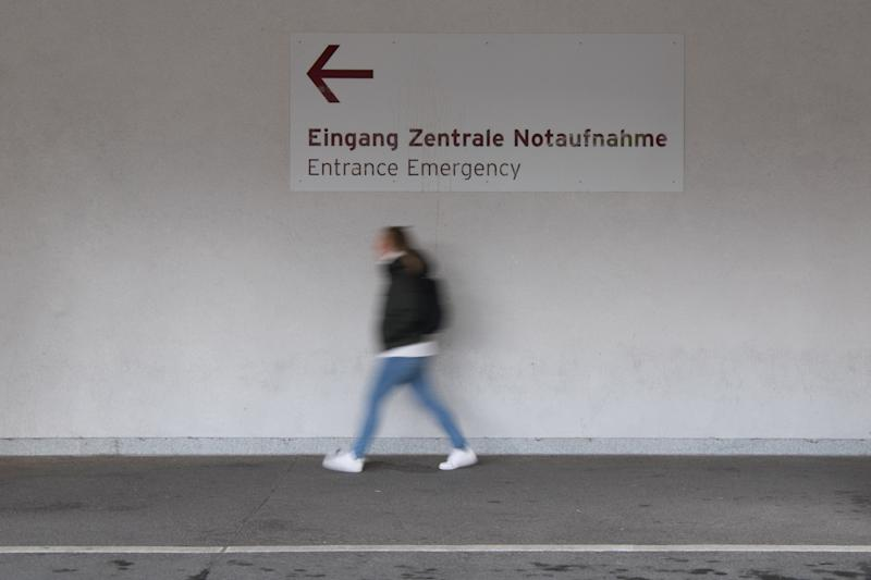 02 March 2020, Berlin: View of a signpost to the emergency room of the Charité in Berlin-Mitte. Photo: Jörg Carstensen/dpa (Photo by Jörg Carstensen/picture alliance via Getty Images)