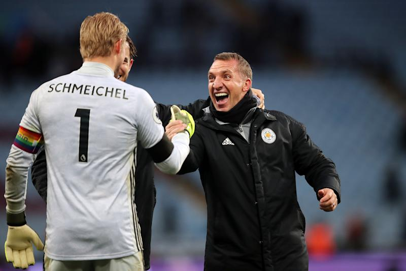 BIRMINGHAM, ENGLAND - DECEMBER 08: Leicester City manager Brendan Rodgers celebrates with Kasper Schmeichel during the Premier League match between Aston Villa and Leicester City at Villa Park on December 8, 2019 in Birmingham, United Kingdom. (Photo by Marc Atkins/Getty Images)