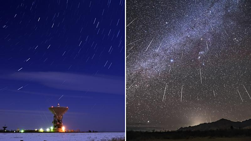 The Geminid meteor shower as seen over the Titov Main Space Test Centre in Russia (left) and a composite of the meteor shower in 2017 (right). Source: Getty Images