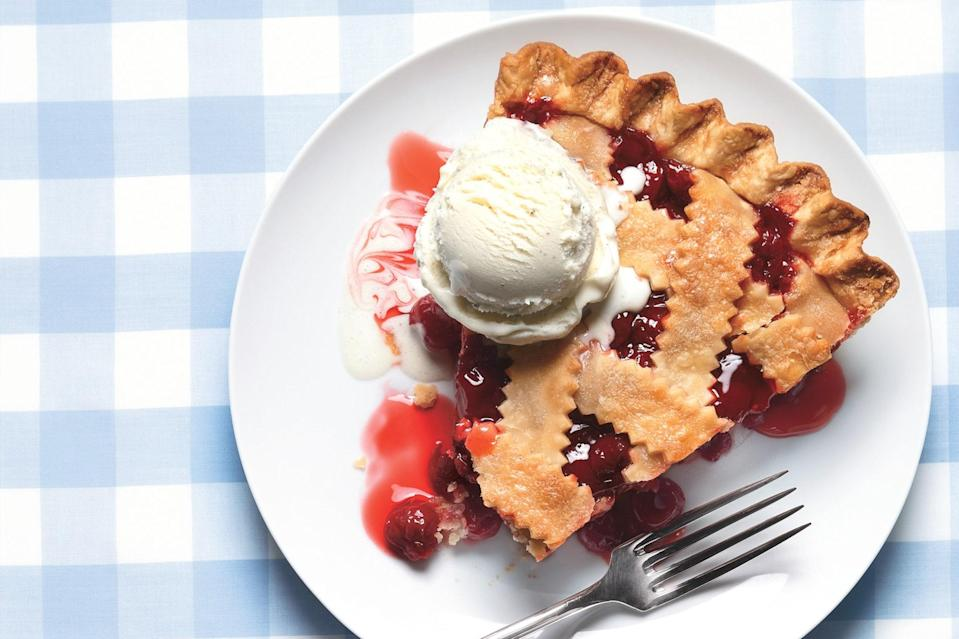 "Classic cherry pie—not the gooey kind with filling from a can, but <a href=""https://www.epicurious.com/ingredients/tart-cherry-pie-appreciation-recipe-article?mbid=synd_yahoo_rss"" rel=""nofollow noopener"" target=""_blank"" data-ylk=""slk:the perfect, sweet-tart kind that's far more elusive"" class=""link rapid-noclick-resp"">the perfect, sweet-tart kind that's far more elusive</a>—is about three things: the right cherries, flaky pastry, and vanilla ice cream. To that end, this version is the realest deal you're going to find. <a href=""https://www.epicurious.com/recipes/food/views/classic-sour-cherry-pie-with-lattice-crust-242514?mbid=synd_yahoo_rss"" rel=""nofollow noopener"" target=""_blank"" data-ylk=""slk:See recipe."" class=""link rapid-noclick-resp"">See recipe.</a>"