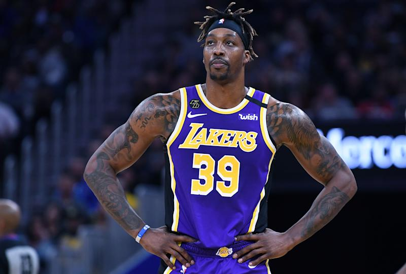 Dwight Howard #39 of the Los Angeles Lakers looks on against the Golden State Warriors during an NBA basketball game at Chase Center on February 08, 2020 in San Francisco, California.