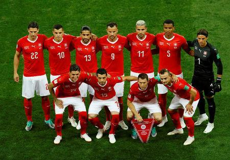 Soccer Football - World Cup - Group E - Brazil vs Switzerland - Rostov Arena, Rostov-on-Don, Russia - June 17, 2018 Switzerland players pose for a team group photo before the match REUTERS/Jason Cairnduff