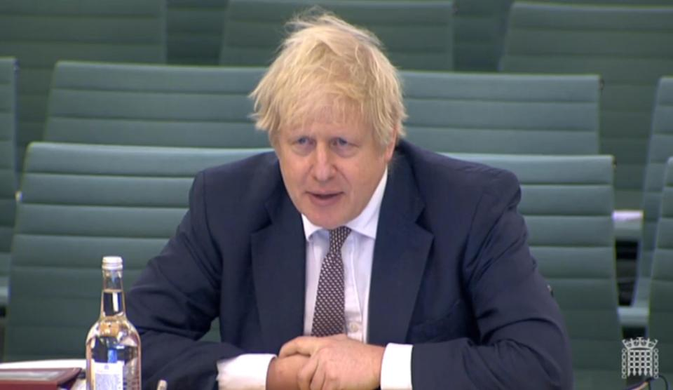 Boris Johnson at the liaison committee meeting on Wednesday. (PA)