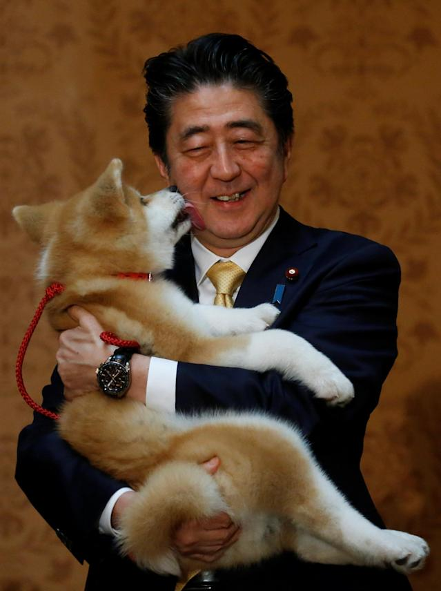 Japanese Prime Minister Shinzo Abe poses with an Akita Inu puppy presented to Russian figure skating gold medallist Alina Zagitova, in Moscow, Russia May 26, 2018. REUTERS/Maxim Shemetov