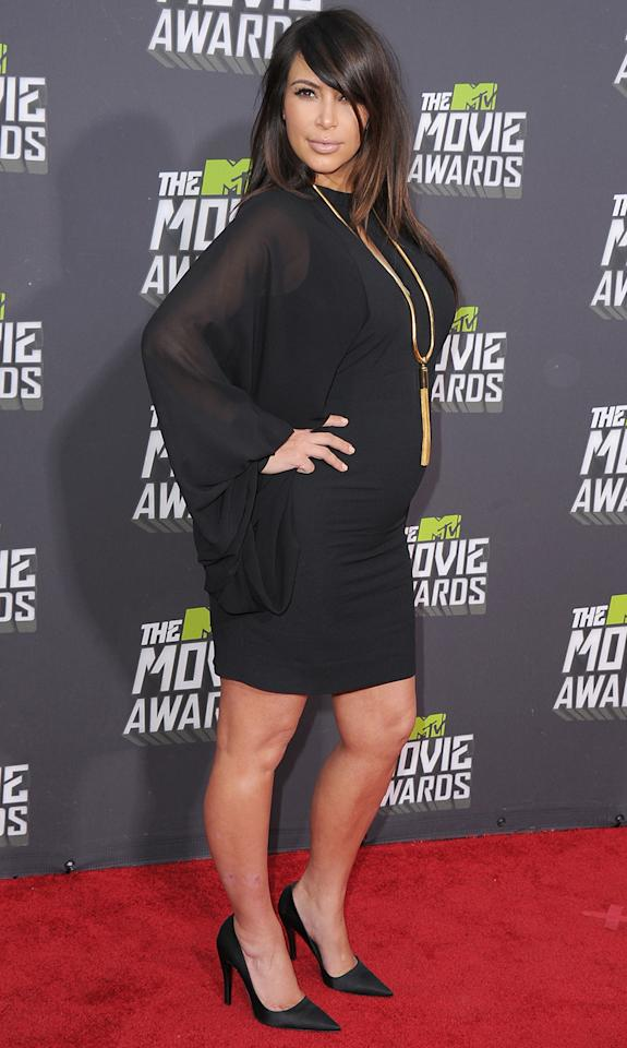 CULVER CITY, CA - APRIL 14: KIm Kardashian arrives at the 2013 MTV Movie Awards at Sony Pictures Studios on April 14, 2013 in Culver City, California. (Photo by Steve Granitz/WireImage)