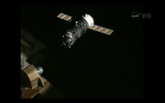The robotic Russian Progress 48 supply ship is pictured as it approaches the International Space Station on Aug. 1, 2012.