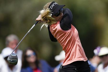 Mar 31, 2018; Rancho Mirage, CA, USA; Pernilla Lindberg tees off on the second hole during the third round of the ANA Inspiration women's golf tournament at Mission Hills CC - Dinah Shore Tournament Course. Mandatory Credit: Kelvin Kuo-USA TODAY Sports