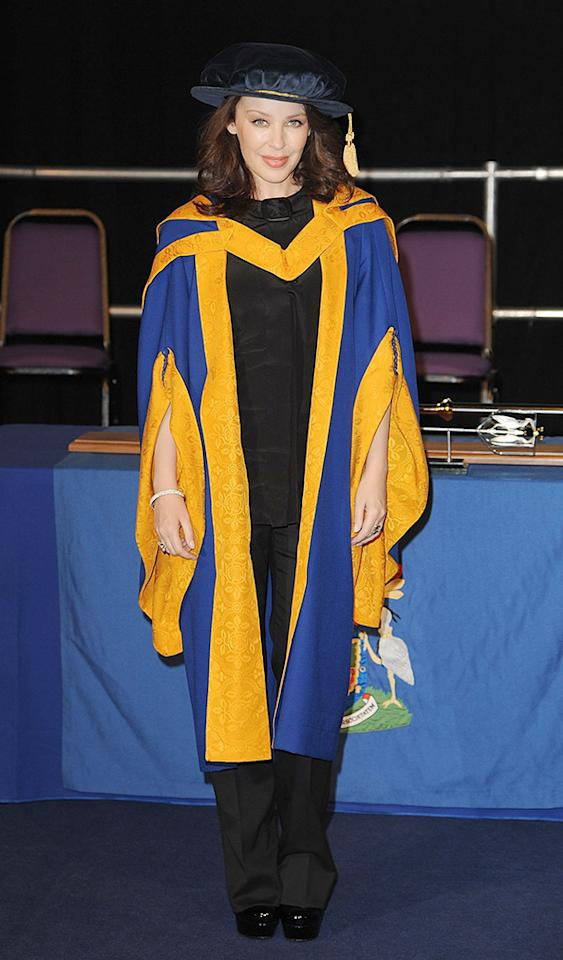 Pop star Kylie Minogue definitely doesn't look like a doctor in this photo ... but she is! The 44-year-old actress was awarded an honorary Doctor Of Health Sciences degree from Angela Ruskin University in Chelmsford, England, in 2011. (10/5/2011)