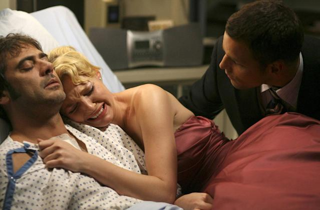 Jeffrey Dean Morgan as Denny, Katherine Heigl as Izzy, and Justin Chambers as Alex in <i>Grey's Anatomy.</i> (Photo: ABC)