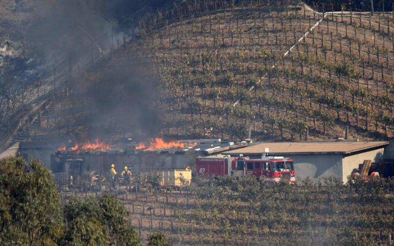 A building on the vineyard estate of media mogul Rupert Murdoch catches fire during the Skirball fire in Bel Air - REUTERS