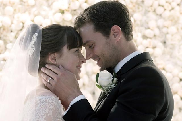 """<p>To their credit, Jamie Dornan and Dakota Johnson <a href=""""https://www.yahoo.com/entertainment/drunk-nicolas-cage-gets-blood-stained-buzzkill-looking-glass-clip-exclusive-204440301.html"""" data-ylk=""""slk:always recognized the humor;outcm:mb_qualified_link;_E:mb_qualified_link"""" class=""""link rapid-noclick-resp"""">always recognized the humor</a> at the heart of the S&M-themed trilogy, which recently wrapped up with <em>Fifty Shades Freed</em>. But that doesn't change the fact that Christian Grey and Anastasia Steele's relationship is a fairly poisionous stew outside the Red Room, what with his paranoia and control issues and her easy acquiescence to a wealthy, porn-filled lifestyle. (Photo: Doane Gregory/Universal Pictures/courtesy Everett Collection) </p>"""