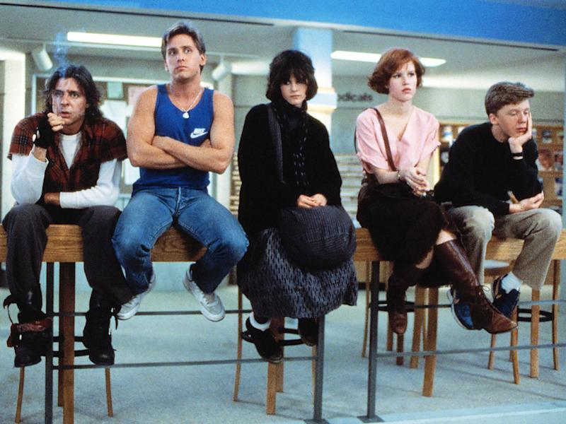 Brat pack: Judd Nelson, Emilio Estevez, Ally Sheedy, Molly Ringwald and Anthony Michael Hall in John Hughes' 1985 film 'The Breakfast Club': Universal