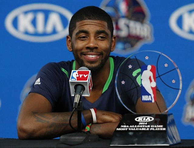 """<a class=""""link rapid-noclick-resp"""" href=""""/nba/players/4840/"""" data-ylk=""""slk:Kyrie Irving"""">Kyrie Irving</a> earned MVP honors in his only NBA All-Star Game as a starter. (AP)"""