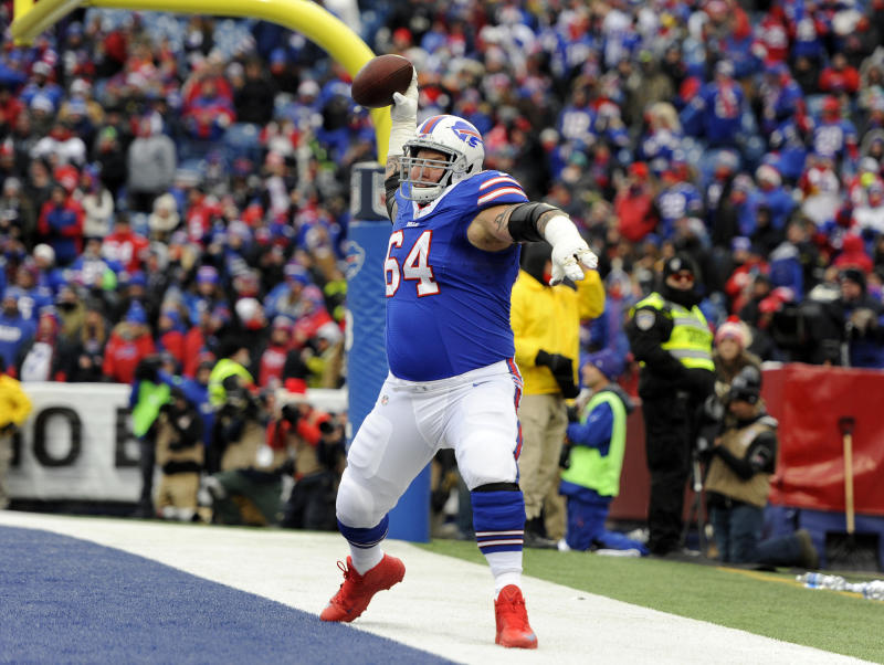 Buffalo Bills guard Richie Incognito (64) was accused of using racial slurs against Jaguars defensive end Yannick Ngakoue. (AP)