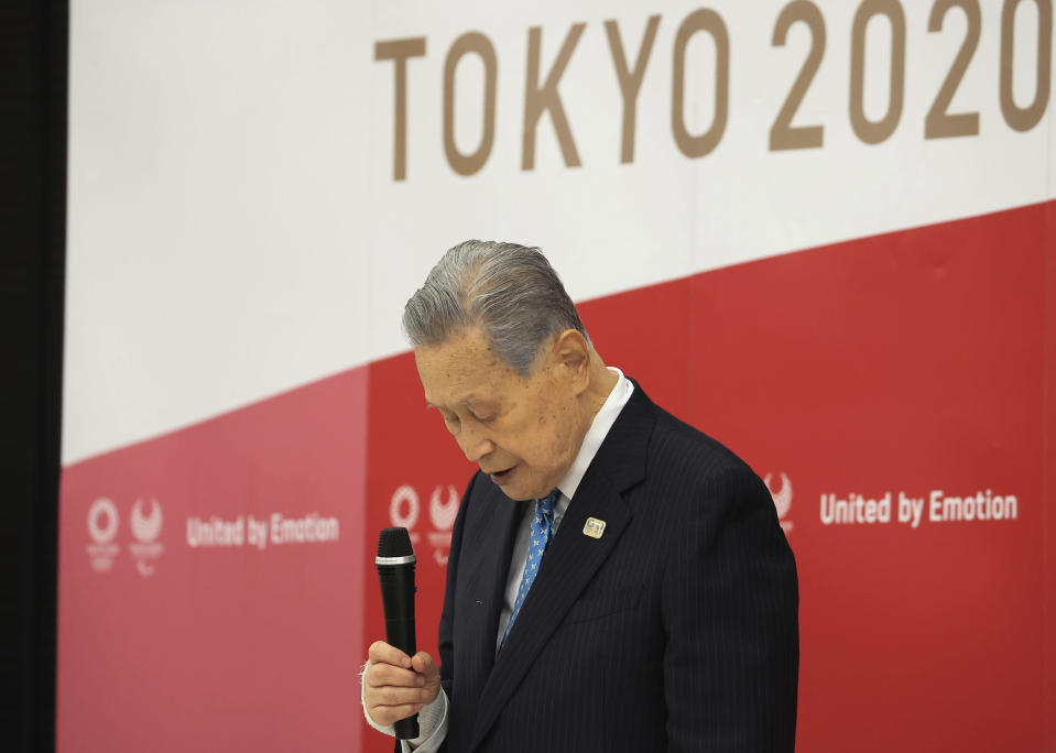 Tokyo 2020 Olympics organizing committee President Yoshiro Mori attends a meeting with council and executive board members at the committee headquarters in Tokyo Friday, Feb. 12, 2021. Mori resigned Friday as the president of the Tokyo Olympic organizing committee following sexist comments implying women talk too much. (Yoshikazu Tsuno/Pool Photo via AP)