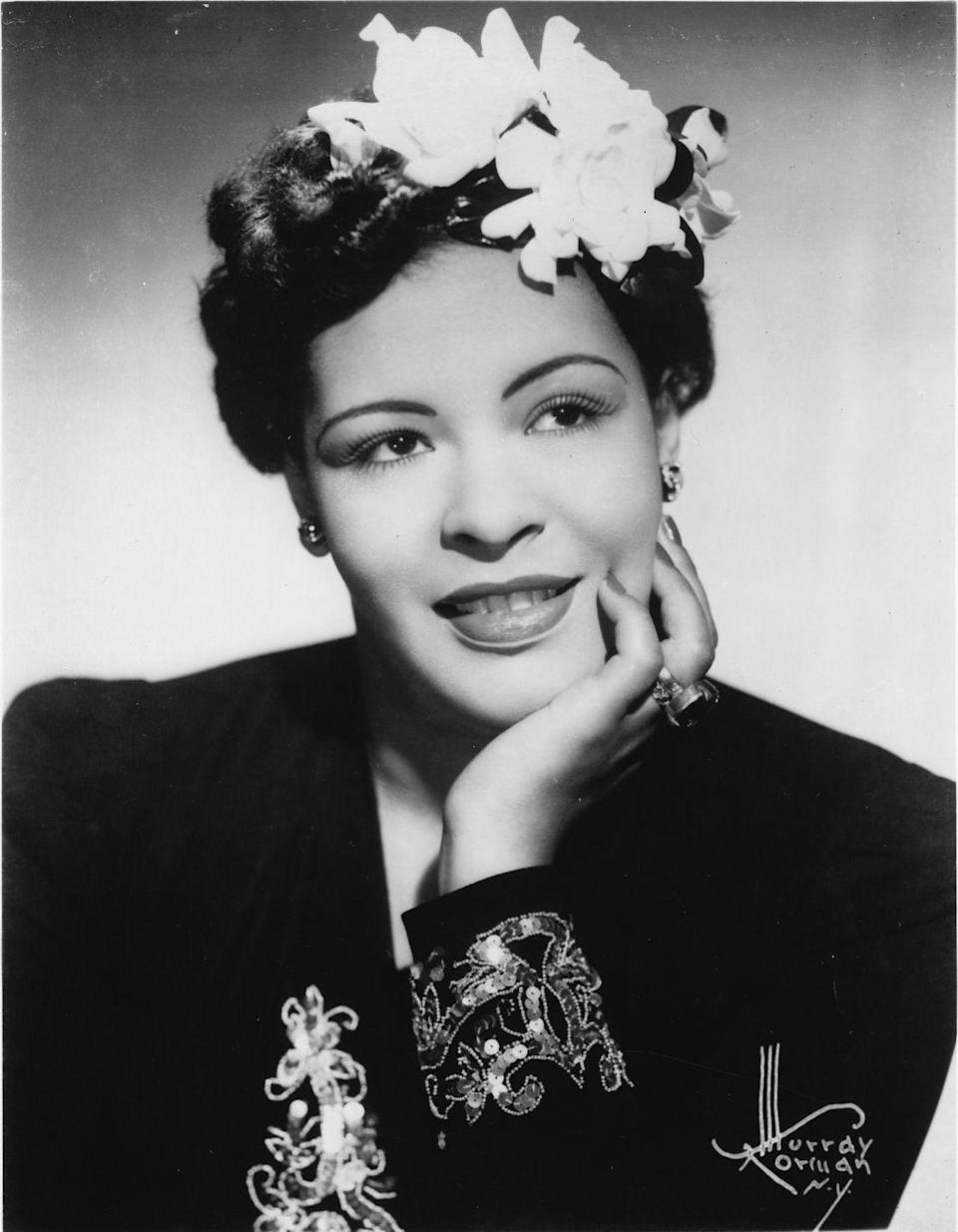 <p>Though she was known primarily for her iconic voice, Billie Holiday's stardom also popularized elegantly accenting hairstyles with flowers — specifically white gardenias.</p>