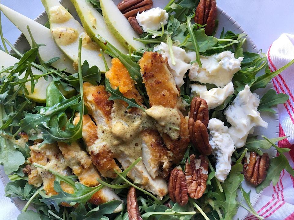 """<p>The contrasting textures take this amazing salad to the next level.</p><p>Get the recipe from <a href=""""https://www.delish.com/cooking/recipe-ideas/recipes/a45427/gorgonzola-pear-chicken-salad-recipe/"""" rel=""""nofollow noopener"""" target=""""_blank"""" data-ylk=""""slk:Delish"""" class=""""link rapid-noclick-resp"""">Delish</a>.</p>"""