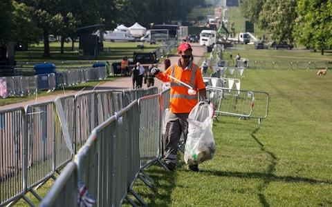 Royal Wedding Clean Up on the Long Walk - Credit: Jeff Gilbert for The Telegraph