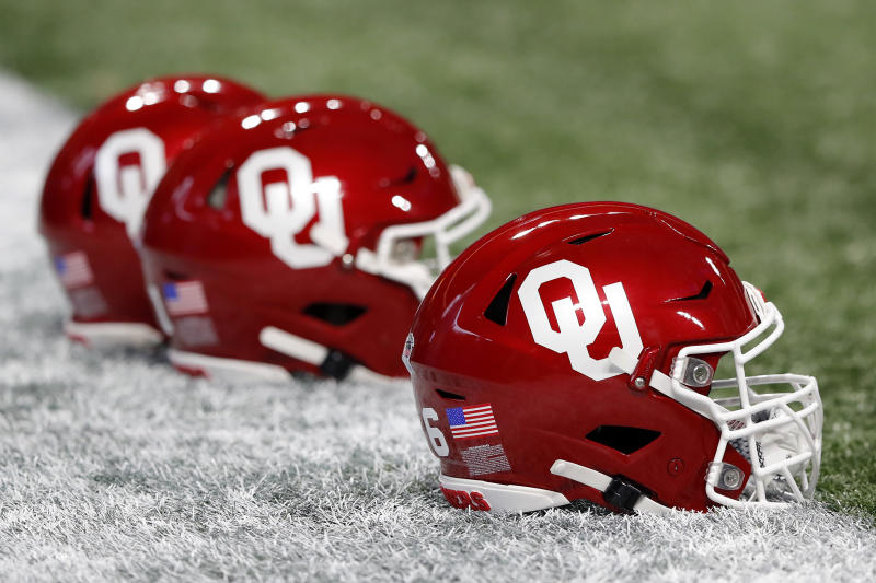 ATLANTA, GEORGIA - DECEMBER 28: Oklahoma Sooners helmets are seen prior to the Chick-fil-A Peach Bowl between the LSU Tigers and the Oklahoma Sooners at Mercedes-Benz Stadium on December 28, 2019 in Atlanta, Georgia. (Photo by Kevin C. Cox/Getty Images)