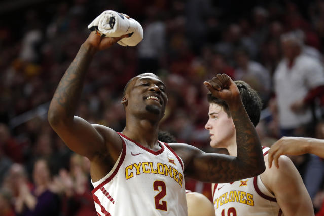Iowa State forward Cameron Lard (2) celebrates at the end of an NCAA college basketball game against Oklahoma, Monday, Feb. 25, 2019, in Ames, Iowa. (AP Photo/Charlie Neibergall)