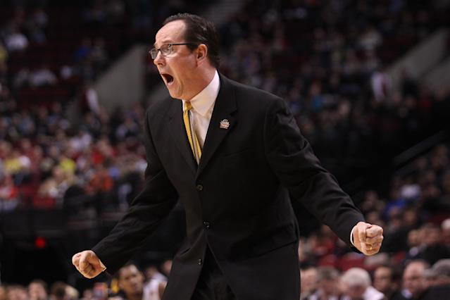 PORTLAND, OR - MARCH 15: Head coach Gregg Marshall of the Wichita State Shockers reacts in the first half while taking on the Virginia Commonwealth Rams in the second round of the 2012 NCAA men's basketball tournament at Rose Garden Arena on March 15, 2012 in Portland, Oregon. (Photo by Jed Jacobsohn/Getty Images)