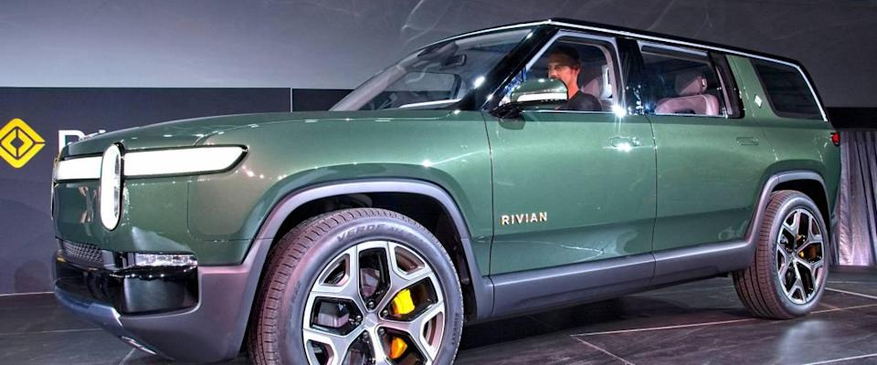 Unveiling of Rivian electric vehicle SUV.