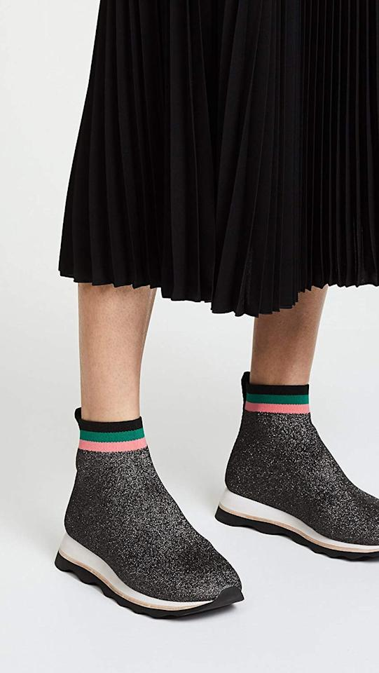 """<p><a href=""""https://www.popsugar.com/buy/Loeffler-Randall-Scout-Knit-Sneaker-Bootie-370297?p_name=Loeffler%20Randall%20Scout%20Knit%20Sneaker%20Bootie&retailer=amazon.com&pid=370297&price=60&evar1=fab%3Aus&evar9=44311634&evar98=https%3A%2F%2Fwww.popsugar.com%2Ffashion%2Fphoto-gallery%2F44311634%2Fimage%2F44312618%2FLoeffler-Randall-Scout-Knit-Sneaker-Bootie&list1=shopping%2Cshoes%2Csneakers%2Choliday%2Cgift%20guide%2Ceditors%20pick%2Cloeffler%20randall%2Cfashion%20gifts%2Cgifts%20for%20women&prop13=api&pdata=1"""" rel=""""nofollow"""" data-shoppable-link=""""1"""" target=""""_blank"""" class=""""ga-track"""" data-ga-category=""""Related"""" data-ga-label=""""https://www.amazon.com/Loeffler-Randall-Womens-Scout-Sneakers/dp/B077NCH8LD"""" data-ga-action=""""In-Line Links"""">Loeffler Randall Scout Knit Sneaker Bootie</a> ($60)</p> <p>""""There's no better way to try out a new trend - in this case, the sock sneaker - than by going all out and getting playful about it. I love the glitter effect and pastel stripes on this comfortable Loeffler Randall shoe."""" - Sarah Wasilak, editor, Fashion</p>"""
