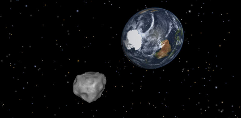 This image provided by NASA/JPL-Caltech shows a simulation of asteroid 2012 DA14 approaching from the south as it passes through the Earth-moon system on Feb. 15, 2013. The 150-foot object will pass within 17,000 miles of the Earth. NASA scientists insist there is absolutely no chance of a collision as it passes. (AP Photo/NASA/JPL-Caltech)