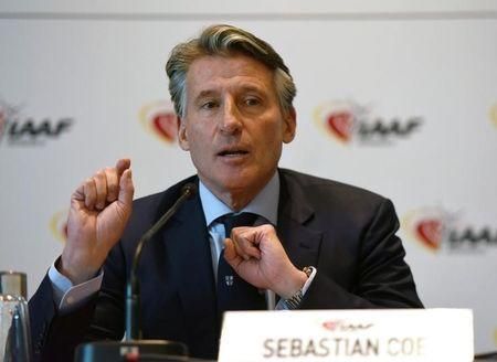 Sebastian Coe, IAAF's President, attends a press conference as part of the International Association of Athletics Federations (IAAF) council meeting in Monaco, November 26, 2017. REUTERS/Jean-Pierre Amet