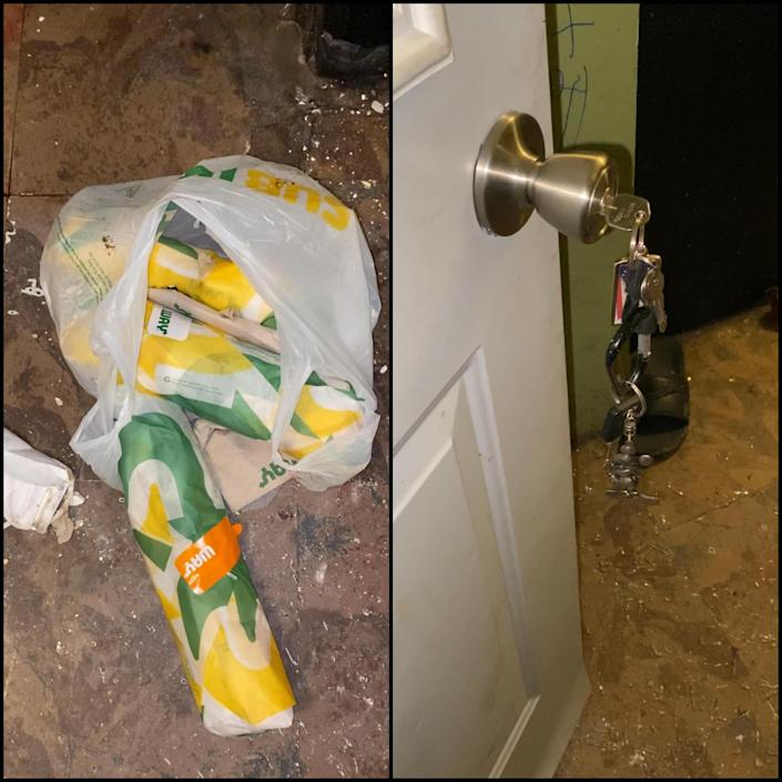 Photographs provided by Meade's family show a bag of Subway sandwiches and Goodson's keys in the door.  / Credit: Attorney Sean Walton