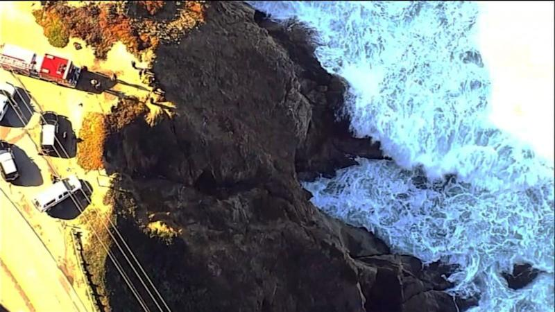 Police searching for car seen in video driving off highway cliff in California