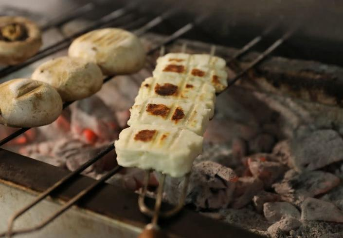 Grilled halloumi is seen in a restaurant in Nicosia