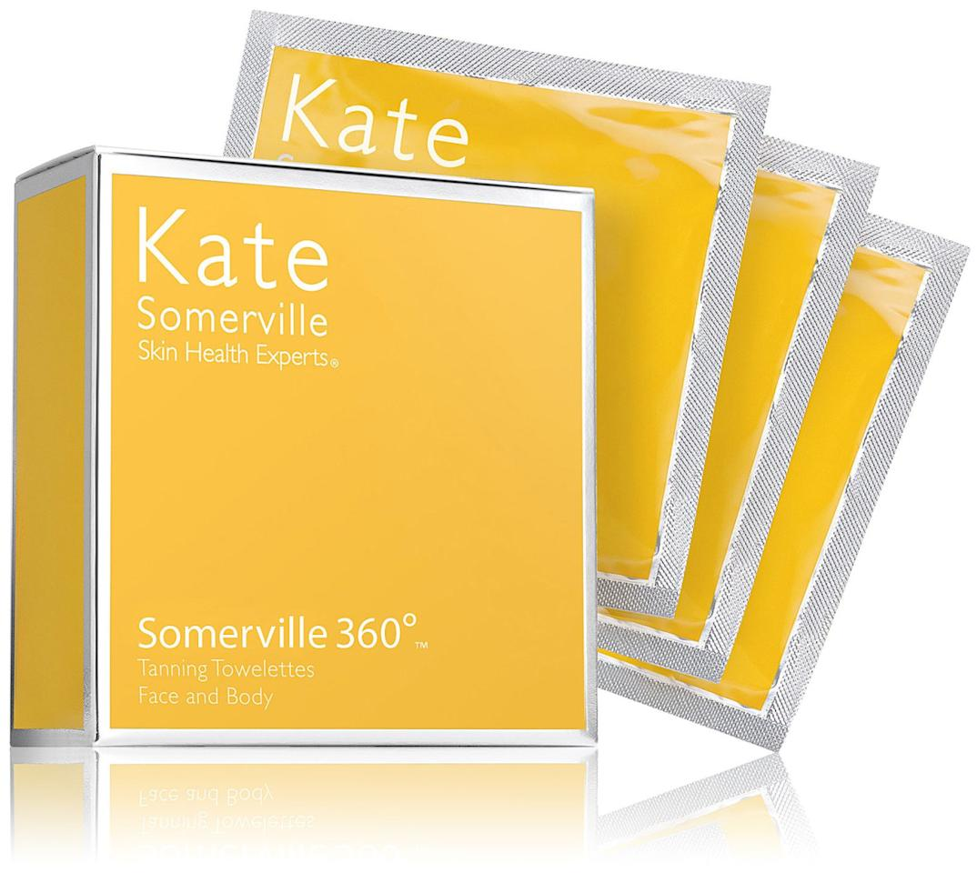 These tanning towelettes are perfect for getting that healthy glow without baking in the sun. Make sure you exfoliate and protect dry areas like your elbows and knees with a moisturizer before using the towelettes. You'll have a sun-kissed look after just a few hours! Kate Somerville Body Self Tanning Towelettes ($48 for 8)
