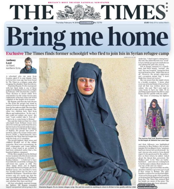 <em>Begum was tracked down by The Times to a refugee camp in northern Syria (Twitter)</em>