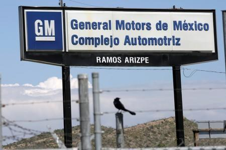 The GM logo is pictured near the General Motors Assembly Plant in Ramos Arizpe