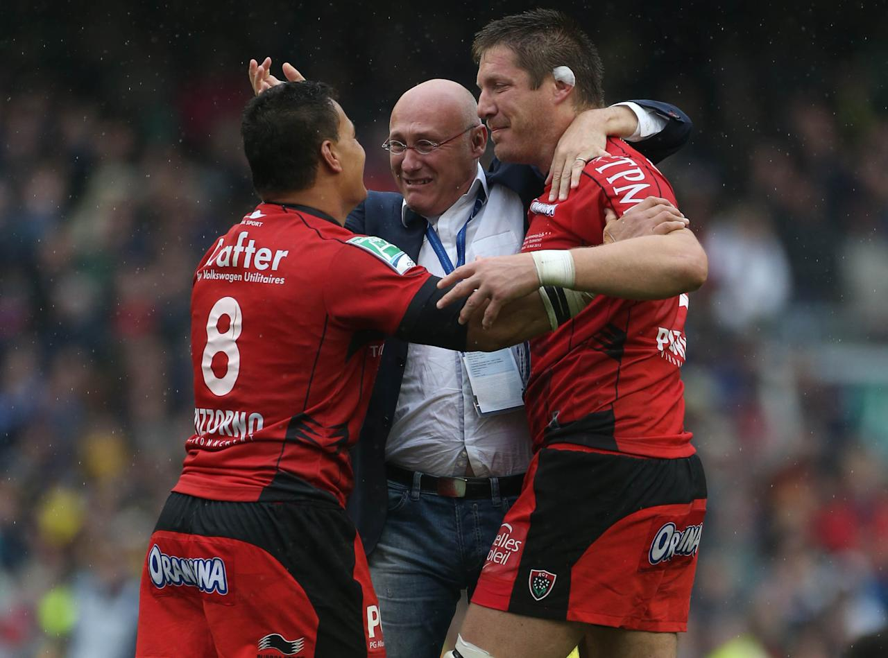 Toulon's Chris Masoe, Bakkies Botha and Coach Bernard Laporte after the Heineken Cup Final match at the Aviva Stadium, Dublin, Ireland. PRESS ASSOCATION Photo. Picture date: Saturday May 18, 2013. See PA story RUGBYU Final. Photo credit should read: Niall Carson/PA Wire.