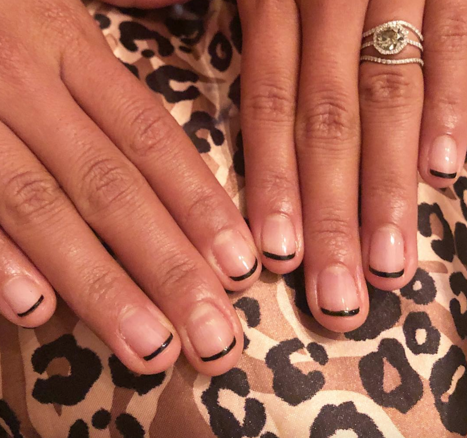 Micro-thin French tips up the edge factor of your manicure with little effort.